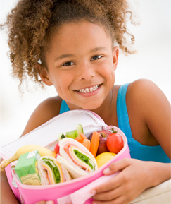 Young Girl and Her Healthy Lunch